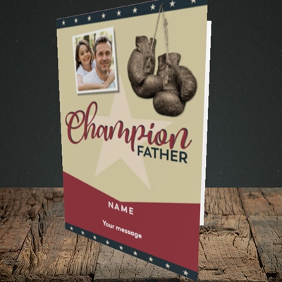 Picture of Champion Father, Father's Day Design, Portrait Greetings Card