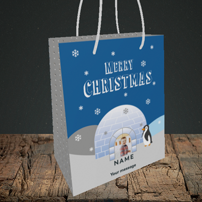 Picture of Igloo Penguin, Christmas Design, Small Portrait Gift Bag