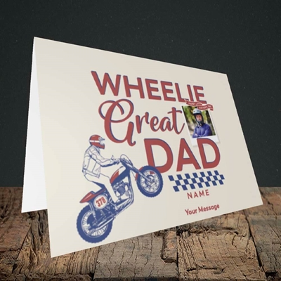 Picture of Wheelie Great Dad, Father's Day Design, Landscape Greetings Card