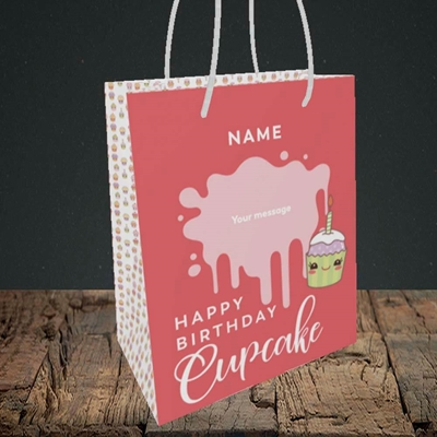 Picture of Cupcake(Without Photo), Birthday Design, Small Portrait Gift Bag