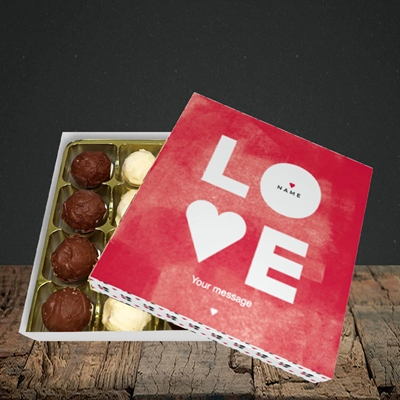 Picture of Love Type (Stacked) (Without Photo), Valentine Design, Choc 16