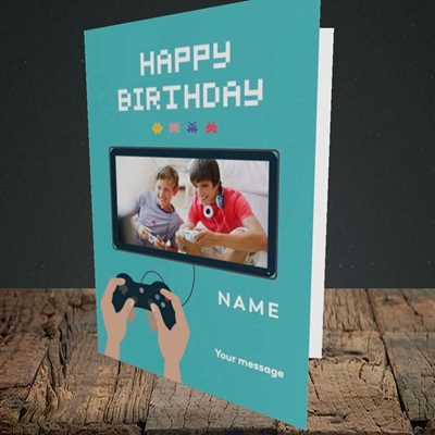 Picture of Space Invaders, Birthday Design, Portrait Greetings Card