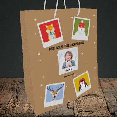 Picture of Animal Polaroid, Christmas Design, Medium Portrait Gift Bag