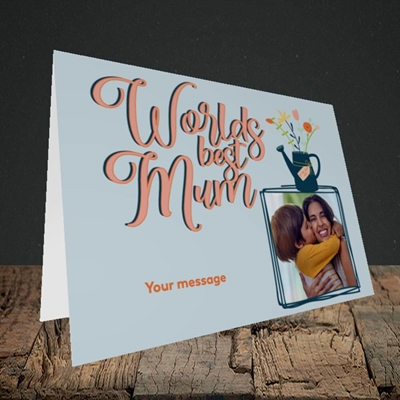 Picture of Worlds Best Mum, Mother's Day Design, Landscape Greetings Card