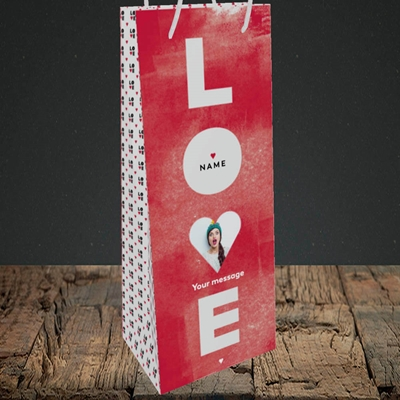 Picture of Love Type (stacked), Valentine's Design, Bottle Bag