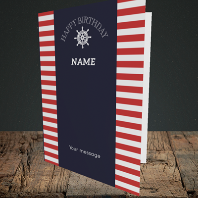 Picture of Nautical, (Without Photo) Birthday Design, Portrait Greetings Card