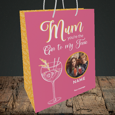 Picture of Gin To My Tonic, Mother's Day Design, Medium Portrait Gift Bag