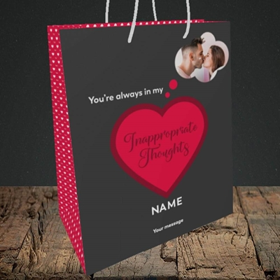 Picture of Inappropriate Thoughts, Valentine's Design, Medium Portrait Gift Bag