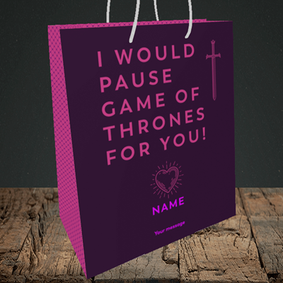 Picture of Game Of Thrones, (Without Photo) Valentine's Design, Medium Portrait Gift Bag
