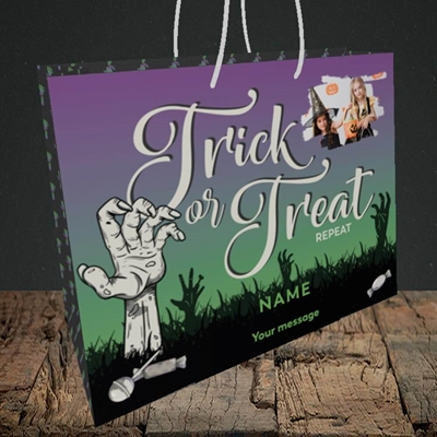 Picture of Trick Or Treat Repeat, Halloween Design, Medium Landscape Gift Bag