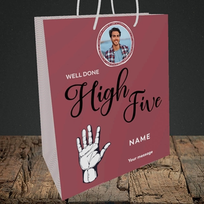 Picture of Well Done High Five, Celebration Design, Medium Portrait Gift Bag