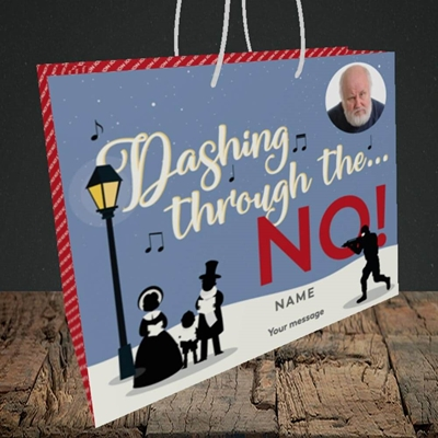 Picture of Dashing Through The... NO!, Christmas Design, Medium Landscape Gift Bag