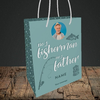 Picture of Fisherman, Father's Day Design, Small Portrait Gift Bag