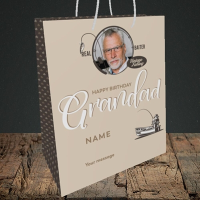 Picture of Grandad Fishing, Birthday Design, Medium Portrait Gift Bag