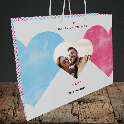Picture of Joined Hearts (textured), Valentine's Design, Medium Landscape Gift Bag