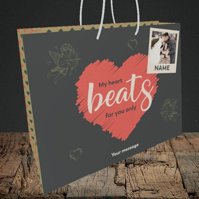 Picture of Beats For You, Valentine's Design, Medium Landscape Gift Bag