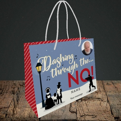 Picture of Dashing Through The... NO!, Christmas Design, Small Landscape Gift Bag