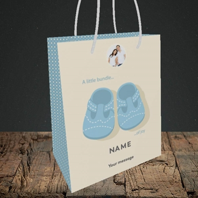 Picture of Little Bundle-Boy, New Baby Design, Small portrait Gift Bag