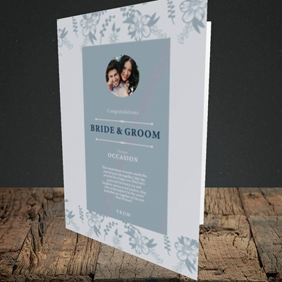 Picture of Floral Strip Edges - Pale Blue  B&G, Wedding Design, Portrait Greetings Card