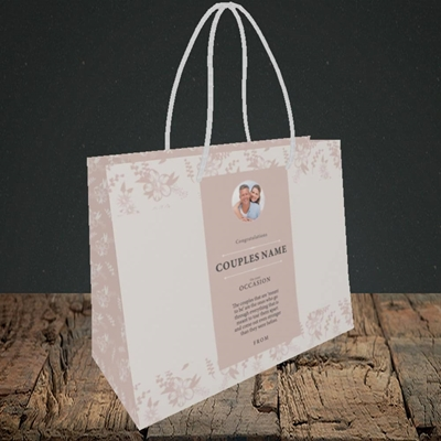 Picture of  Floral Edges Pink, Anniversary Design, Small Landscape Gift Bag
