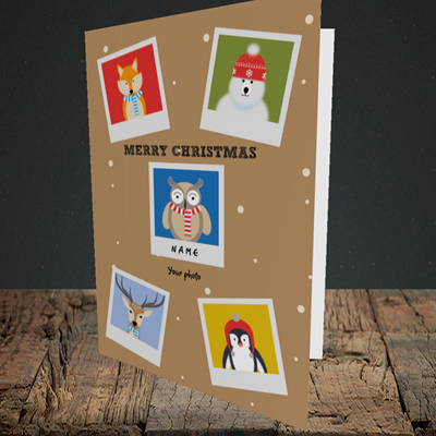 Picture of Animal Polaroid(Without Photo), Christmas Design, Portrait Greetings Card