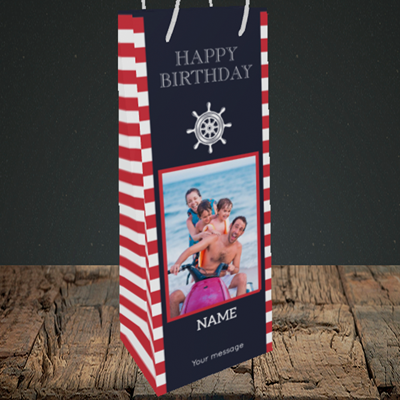 Picture of Nautical, Birthday Design, Bottle Bag