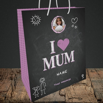 Picture of I Love Mum (Chalk Board), Medium Portrait Gift Bag