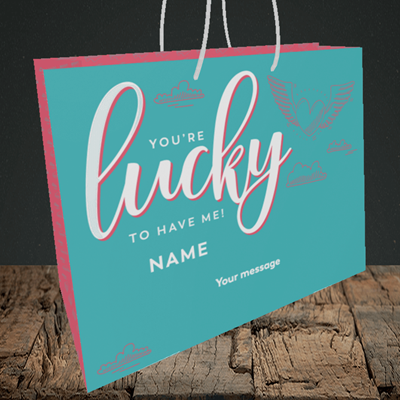 Picture of Lucky To Have Me, (Without Photo) Valentine's Design, Medium Landscape Gift Bag