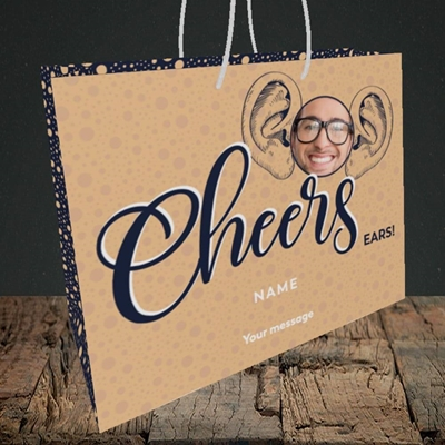 Picture of Cheers Ears, Thank You Design, Medium Landscape Gift Bag