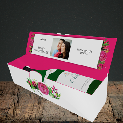 Picture of Flowers, Anniversary Design, Lay-down Bottle Box