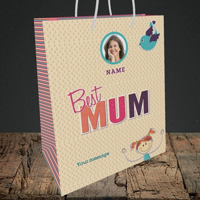 Picture of Best Mum, Medium Portrait Gift Bag