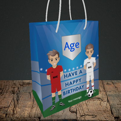 Picture of Football, (Without Photo and editable age) Birthday Design, Small Portrait Gift Bag