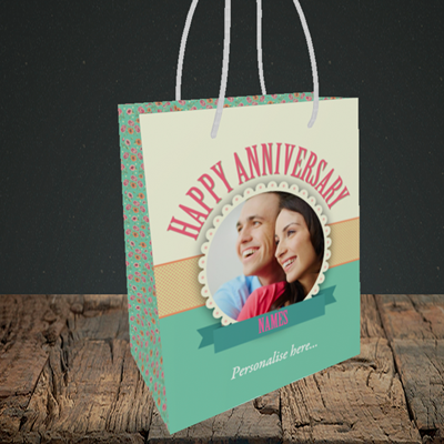 Picture of Roses, Anniversary Design, Small Portrait Gift Bag