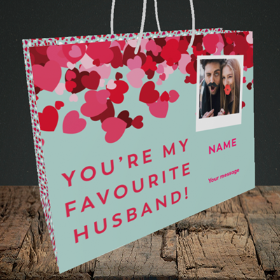 Picture of Favourite Husband, Valentine's Design, Medium Landscape Gift Bag