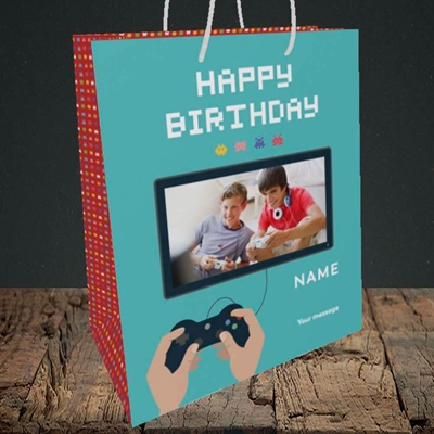 Picture of Space Invaders, Birthday Design, Medium Portrait Gift Bag
