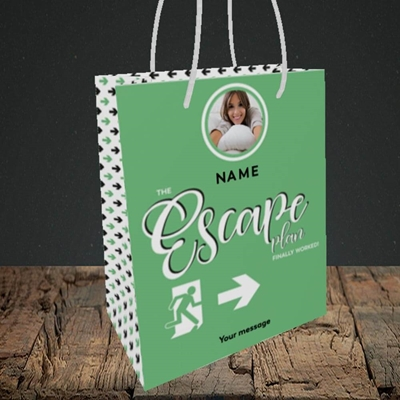 Picture of Escape Plan, Leaving Design, Small Portrait Gift Bag