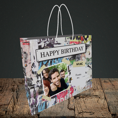 Picture of Graffiti, Birthday Design, Small Landscape Gift Bag