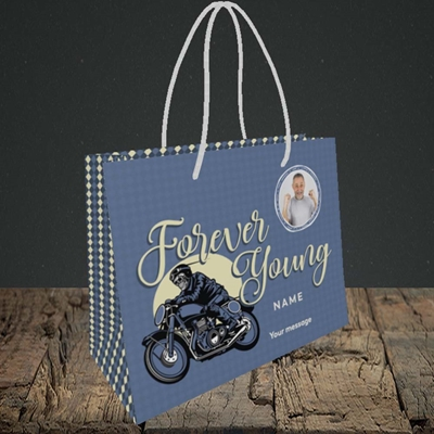 Picture of Forever Young (Motorbike), Birthday Design, Small Landscape Gift Bag