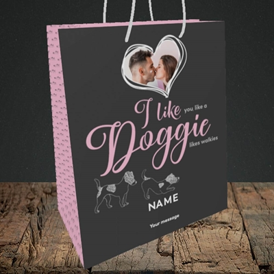Picture of I Like Doggie, Valentine's Design, Medium Portrait Gift Bag