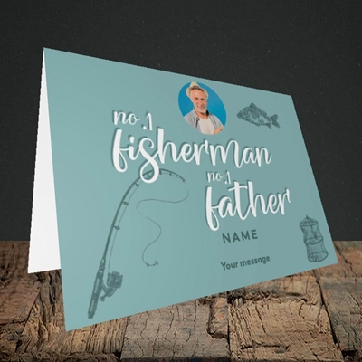 Picture of Fisherman, Father's Day Design, Landscape Greetings Card