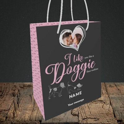 Picture of I Like Doggie, Valentine's Design, Small Portrait Gift Bag