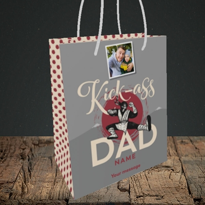 Picture of Kick-Ass Dad, Father's Day Design, Small Portrait Gift Bag