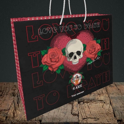 Picture of Love You To Death, Valentine's Design, Medium Landscape Gift Bag