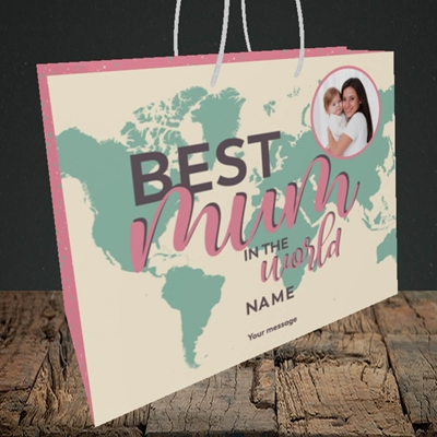 Picture of Best Mum In The World, Mother's Day Design, Medium Landscape Gift Bag