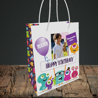 Picture of Monster, Birthday Design, Small Portrait Gift Bag