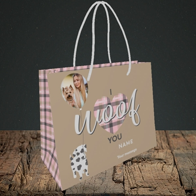Picture of I Woof You, Valentine's Design, Small Landscape Gift Bag