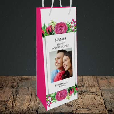 Picture of Flowers, Anniversary Design, Bottle Bag