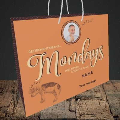 Picture of Mondays, Retirement Design, Medium Landscape Gift Bag