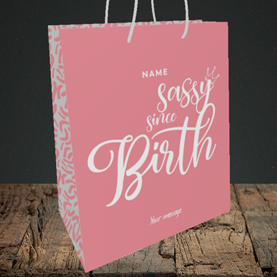 Picture of Sassy, (Without Photo) Birthday Design, Medium Portrait Gift Bag