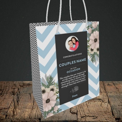 Picture of Zigzag Blue, Anniversary Design, Small Portrait Gift Bag